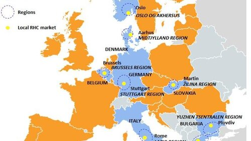 European map with selected regional contexts and local markets in the research project W4RES