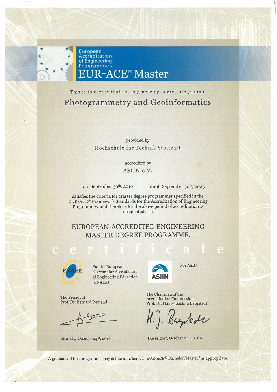 Akkreditierungsurkunde EURACE Master Photogrammetry and Geoinformatics